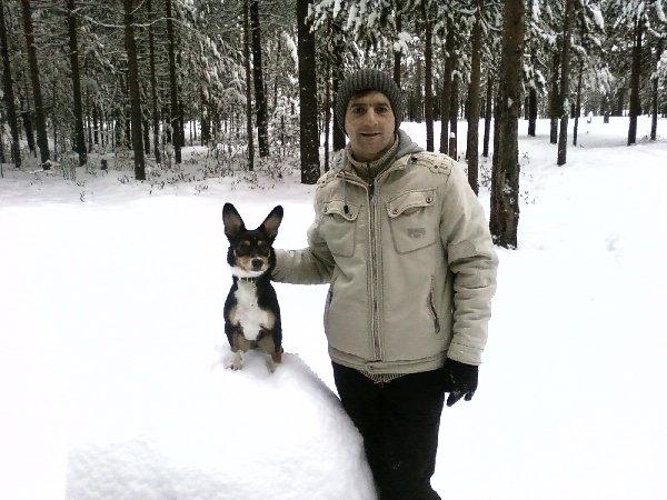 На утренней прогулке в лесу. Лепим снежную бабу..
