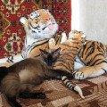 с тиграми в обнимку..))