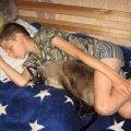 Сынок и его любимец на отдыхе после утомительной и продолжительной игры.