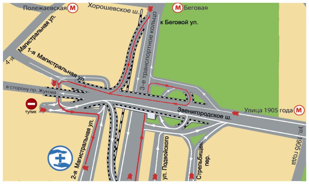 """Автомобилистам: съезд с наружной или внутренней части третьего кольца на указатель  """"1-я магистральная ул..."""